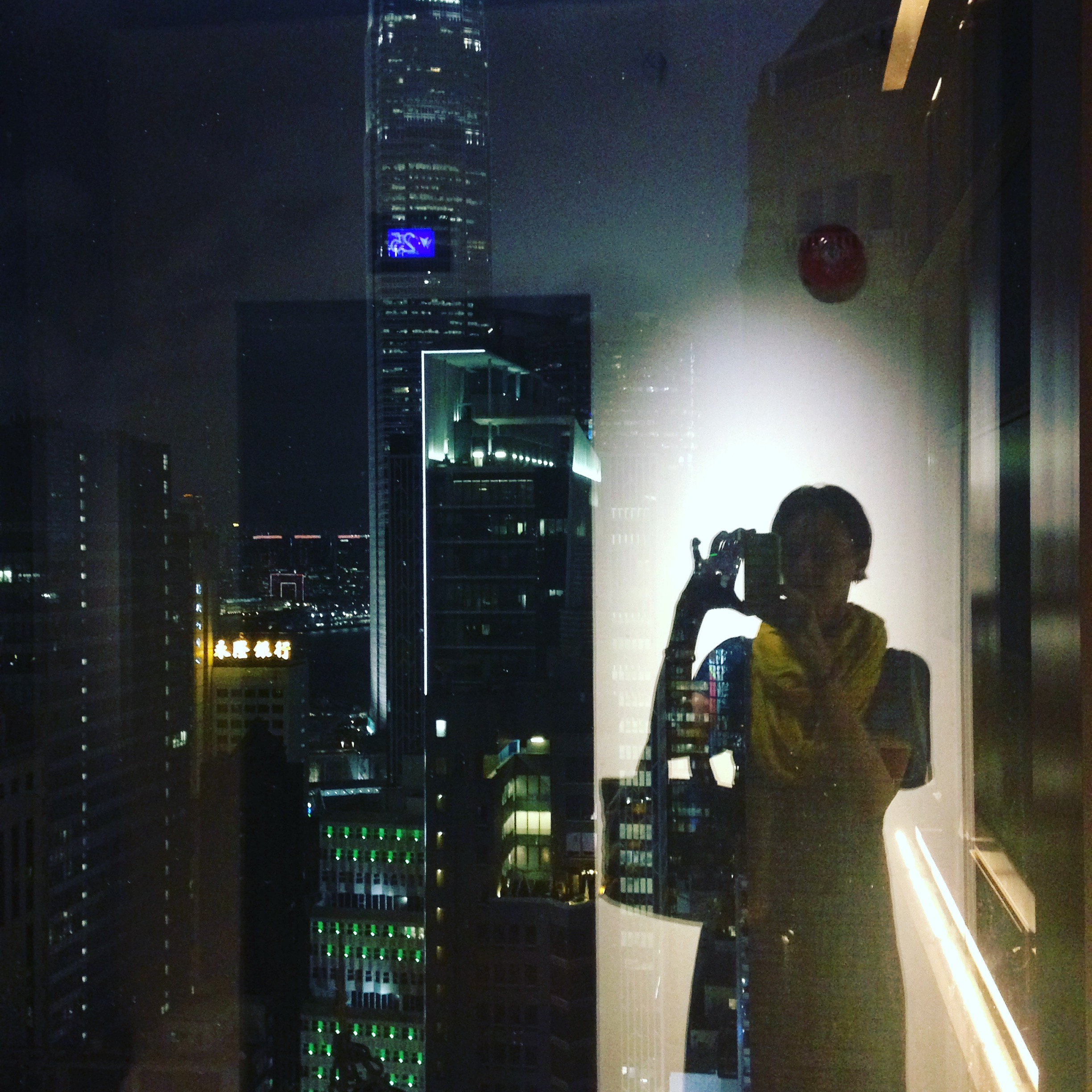 Hong Kong skyline with silhouette.